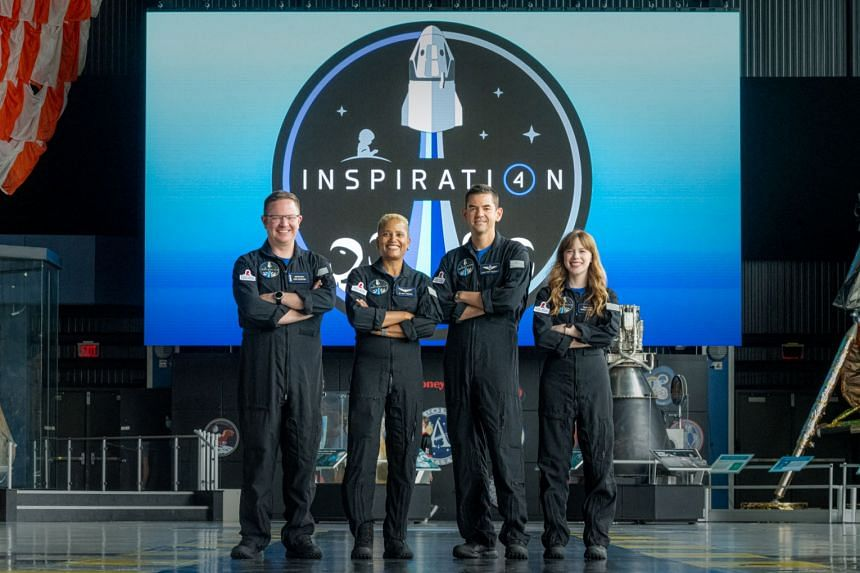 (From left) Chris Sembroski, Sian Proctor, Jared Isaacman and Hayley Arceneaux is set for blastoff from NASA's Kennedy Space Center on Sept 15, 2021.