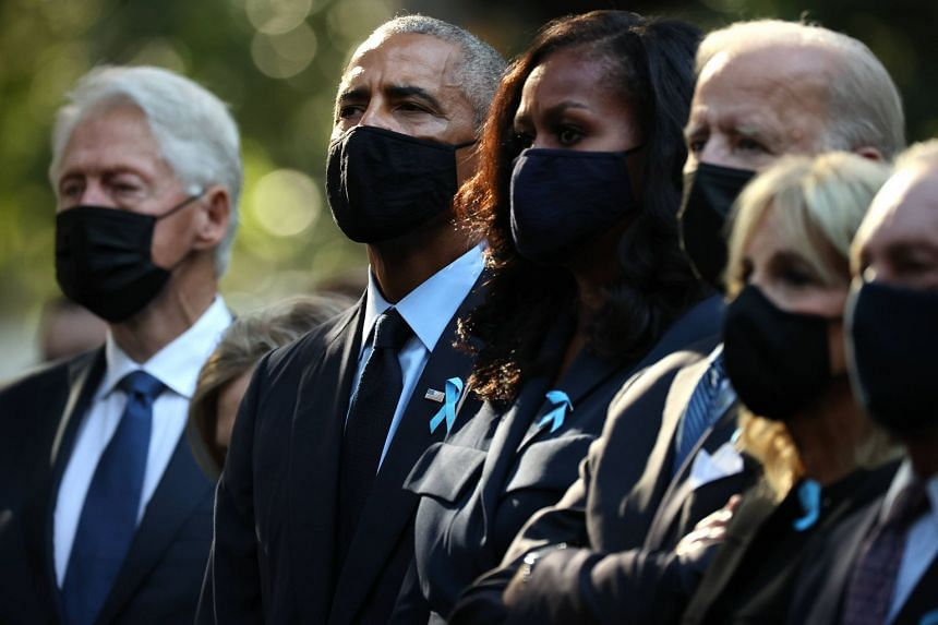 (From left) Former presidents Bill Clinton and Barack Obama, former first lady Michelle Obama, President Joe Biden, First Lady Jill Biden and former New York City mayor Michael Bloomberg attend a 9/11 anniversary commemoration in New York City. PHOTO