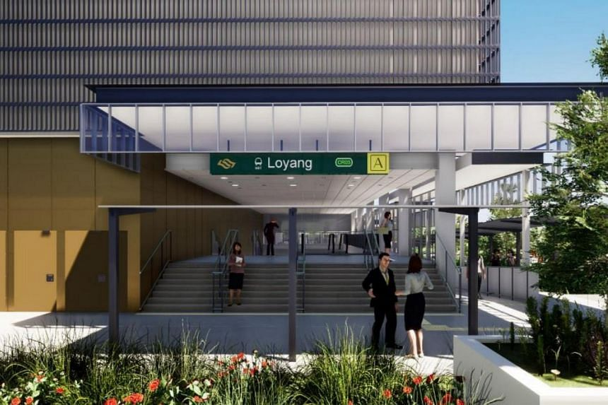 An artist's impression of the upcoming Loyang MRT station along the Cross Island Line.