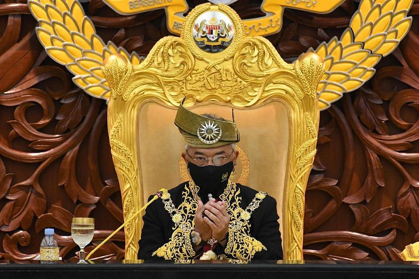 Malaysia's King, Sultan Abdullah Ahmad Shah, offering prayers during the opening ceremony of the 14th parliamentary session in Kuala Lumpur, on Sept 13, 2021.