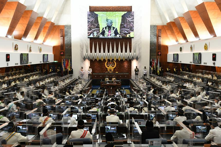 Malaysia's King delivering his address at the 14th Parliamentary session opening in Kuala Lumpur on Sept 13, 2021.