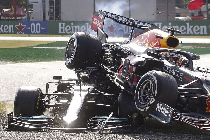 Lewis Hamilton was jockeying for position with Max Verstappen on lap 26 and the two collided.