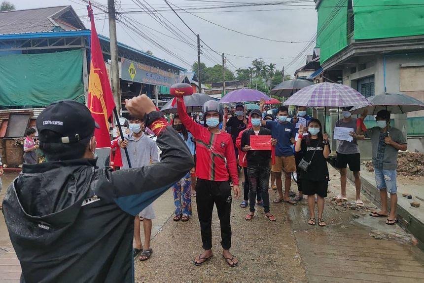 Protestors taking part in a demonstration against the military coup in Dawei, Myanmar, on July 6, 2021.