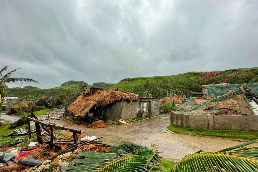 Damaged buildings and debris are seen after Typhoon Chanthu passed through Sabtang, Batanes, Philippines, on Sept 12, 2021.