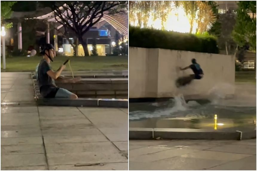 In a video that was circulated online, a man was seen wakeboarding across the water feature.
