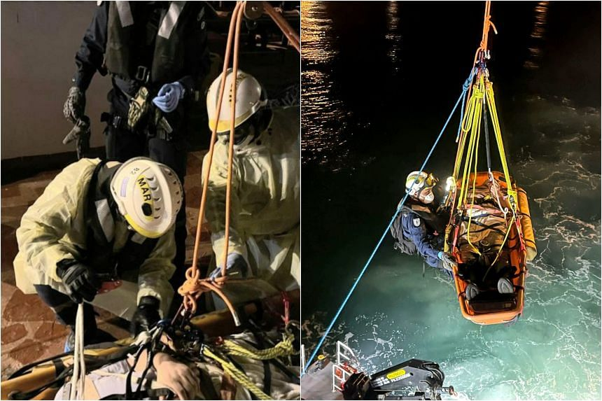SCDF deployed two marine vessels after receiving a call for medical assistance at about 1.30am.