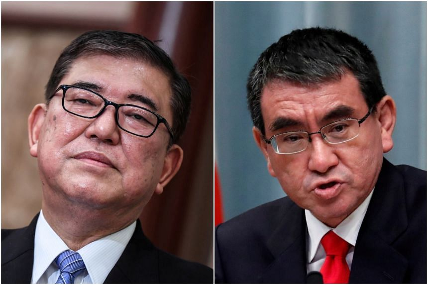 Mr Shigeru Ishiba is reportedly considering supporting Mr Taro Kono (right) in the race to replace Japan's prime minister.