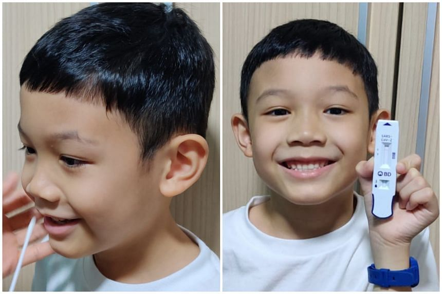 Seven-year-old Kaleb Ng took the test on Sept 13 with help from his parents and tested negative.