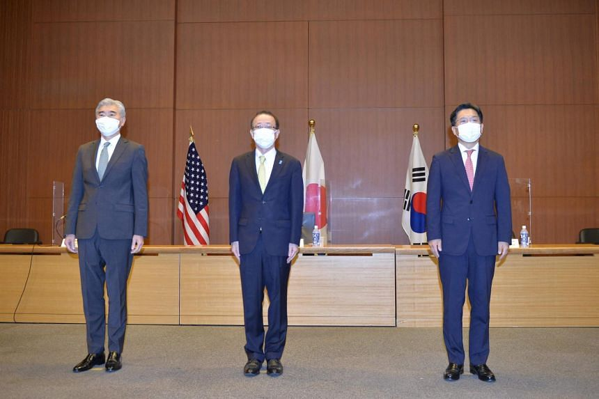 Mr Sung Kim, the US State Department's special representative for North Korea, with representatives from Japan and South Korea during talks in Tokyo on Sept 14, 2021.