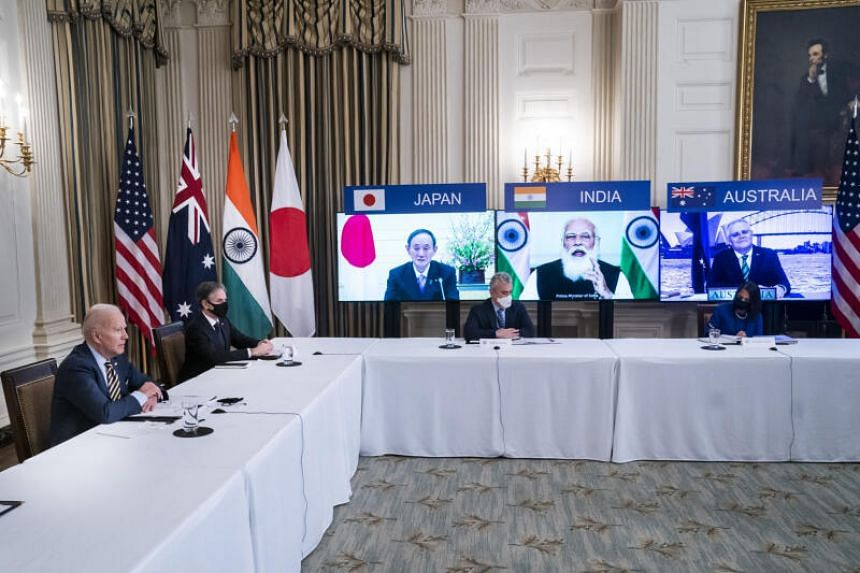 (From left) US President Joe Biden and Antony Blinken, US secretary of state, attend a virtual Quad meeting with leaders of Japan, Australia and India in the White House, on March 12, 2021.