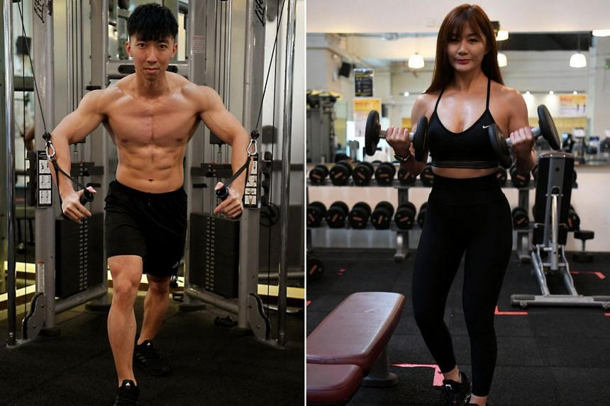 Personal trainers Tee Yu Xuan (left) and Lee Cally.