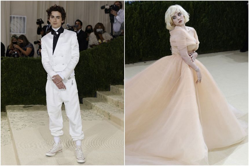 Actor Timothee Chalamet (left) and singer Billie Eilish at the Met Gala in New York on Sept 13, 2021.