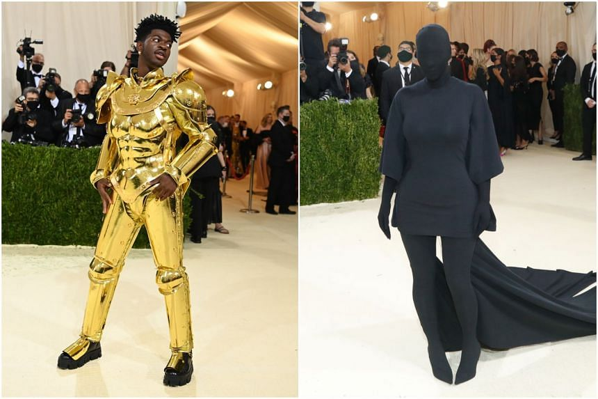 Rapper Lil Nas X (left) and reality TV star Kim Kardashian at the Met Gala in New York on Sept 13, 2021.