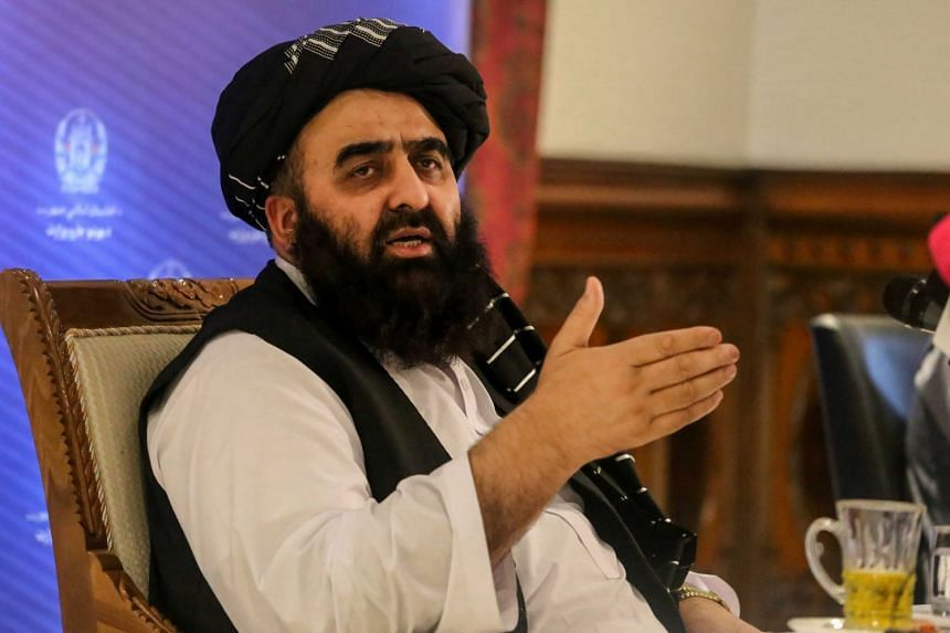 Amir Khan Muttaqi, the Taliban's acting foreign minister, talks with journalists during a press conference in Kabul, on Sept 14, 2021.