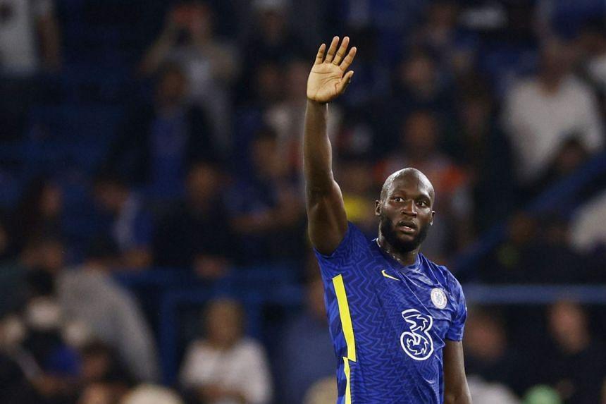 Chelsea's Romelu Lukaku celebrates after the match.