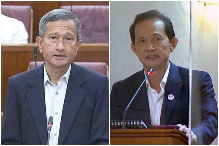 Foreign Minister Vivian Balakrishnan (left) apologised to NCMP Leong Mun Wai for comments he made in Parliament on Sept 14, 2021.
