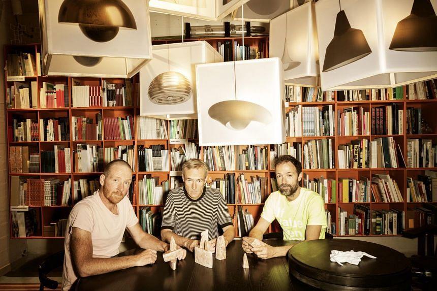 The Superflex founders, (from left) Bjornstjerne Christiansen, Rasmus Nielsen and Jakob Fenger in Copenhagen on Sept 13, 2021.