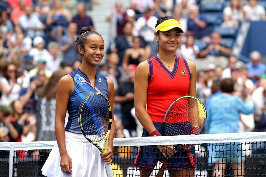 Leylah Fernandez (left) and Emma Raducanu before their US Open women's final match on Sept 11, 2021.