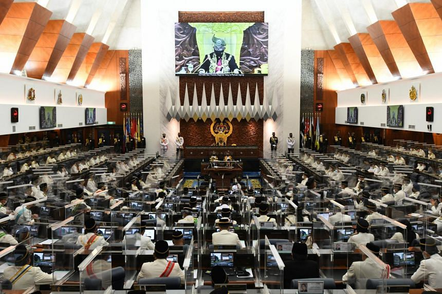 Sultan Abdullah Ahmad Shah speaking at Malaysia's 14th parliamentary session opening in Kuala Lumpur, on Sept 13, 2021.