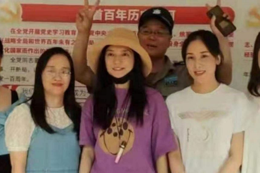 Photos of actress Vicki Zhao (in purple), said to be taken in her home town of Wuhu city in Anhui, began circulating on Sept 14.