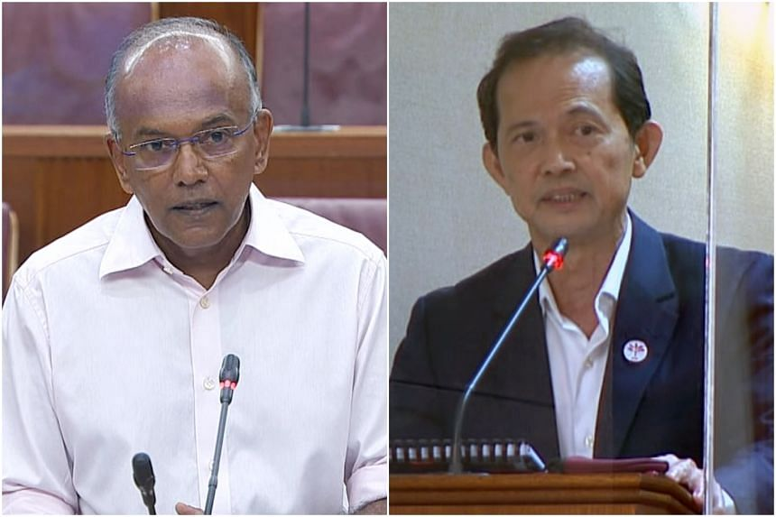 Law and Home Affairs Minister K. Shanmugam and the Progress Singapore Party's Non-Constituency MP Leong Mun Wai in Parliament on Sept 14, 2021.