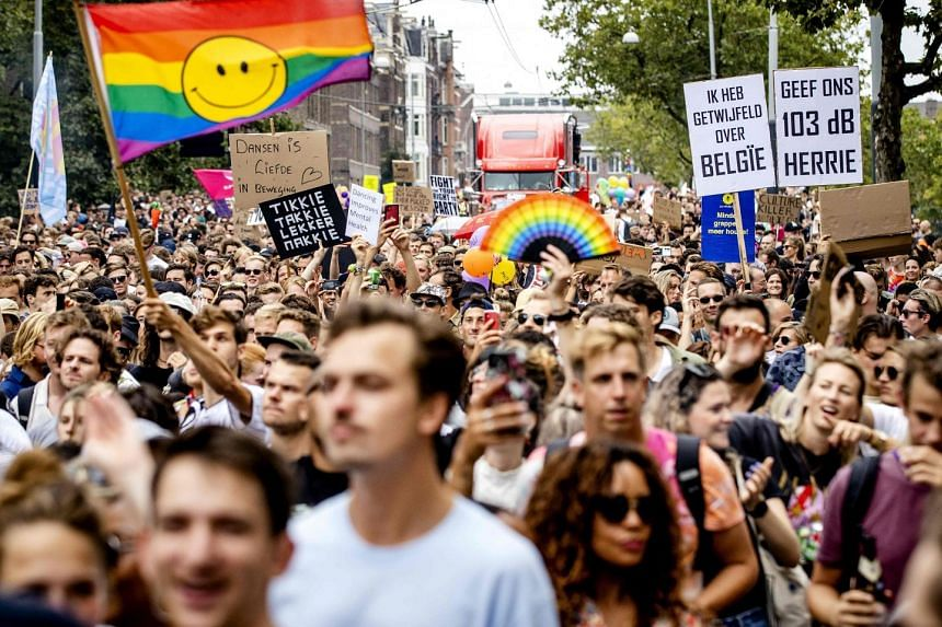 People protest about Covid-19 policy across the Netherlands In Amsterdam, on Sept 11, 2021.
