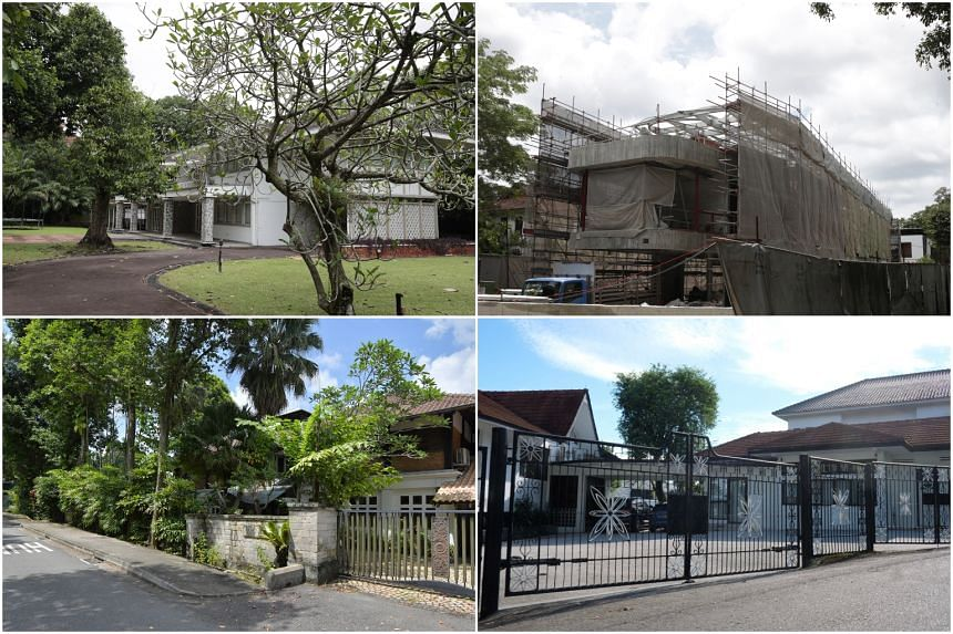 (Clockwise from top left) A property at Nassim Road, a bungalow in Cluny Hill, a bungalow in Olive Road and a bungalow in the Bin Tong Park area.