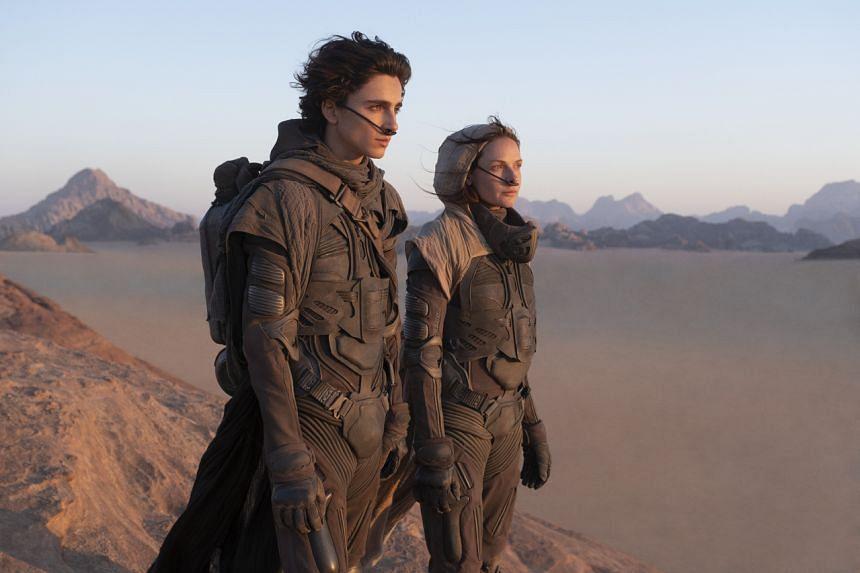 Timothee Chalamet and Rebecca Ferguson in Denis Villeneuve's Dune.