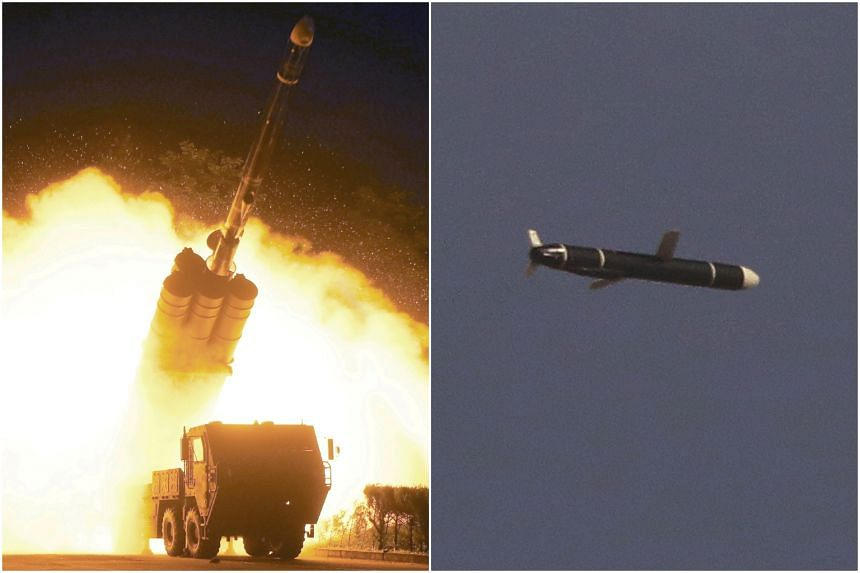 North Korea firing a long-range cruise missile in undated photos supplied by Korean Central News Agency on Sept 13, 2021.