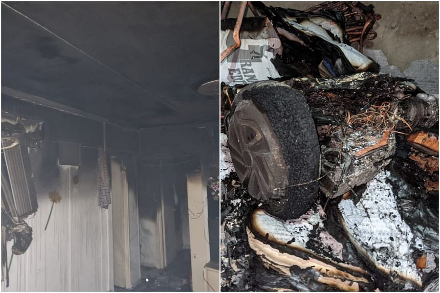 SCDF's post shows a charred room and what appears to be burnt remains of a personal mobility device.