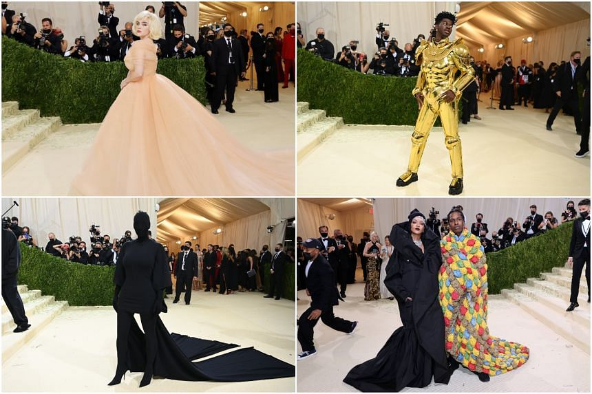 (Clockwise from top left) Billie Eilish, Lil Nas X, Rihanna and A$AP Rocky and Kim Kardashian at the Met Ball on Sept 13, 2021.