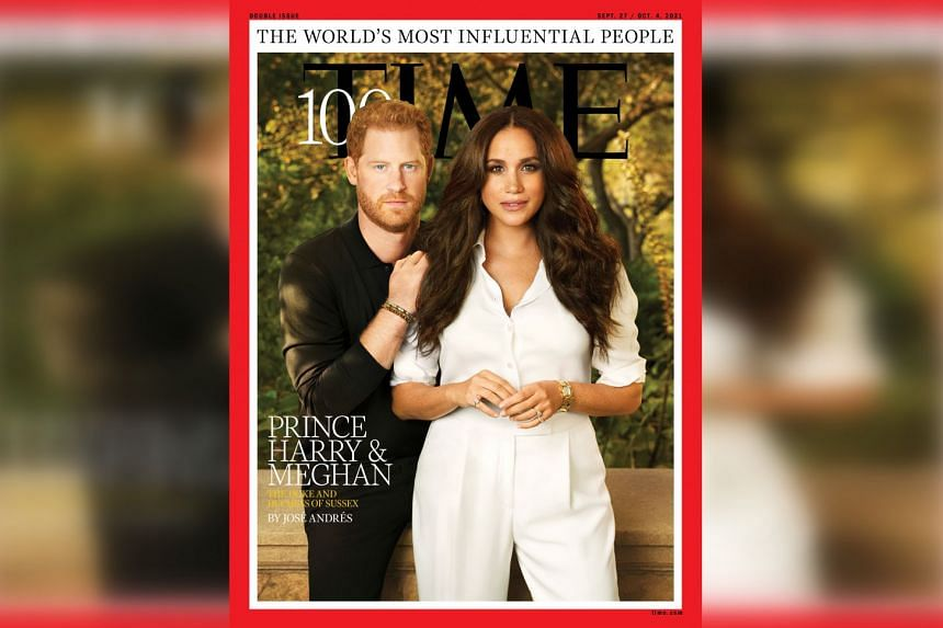 Britain's Prince Harry and Meghan, Duchess of Sussex, appear on the cover of Time magazine's 100 most influential people in the world.
