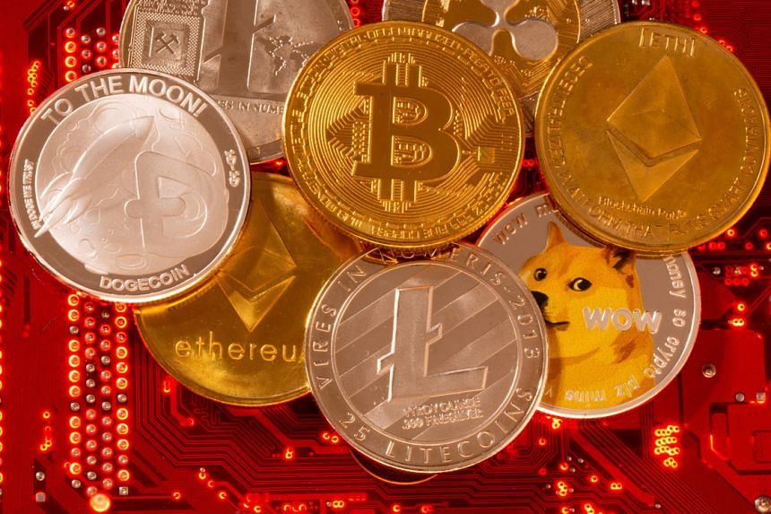 A representation of cryptocurrencies such as Bitcoin, Ethereum and DogeCoin.