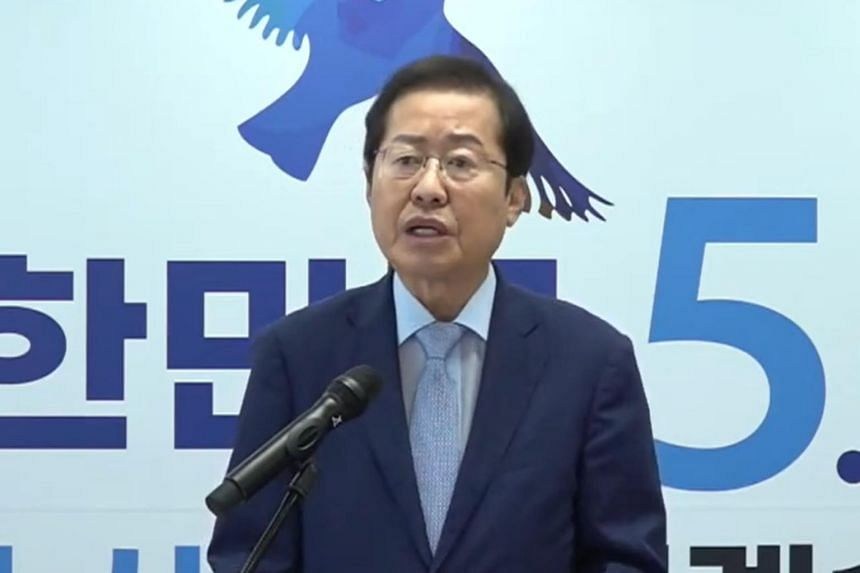 Mr Hong Joon-pyo from the People Power Party wants a clean break from the current progressive government of President Moon Jae-in.
