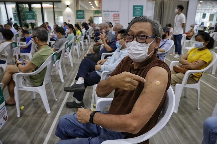 Mr Lee Kim Seng, a 69-year-old private hire driver, was among those who received booster jabs at Teck Ghee Community Club on Sept 15, 2021.