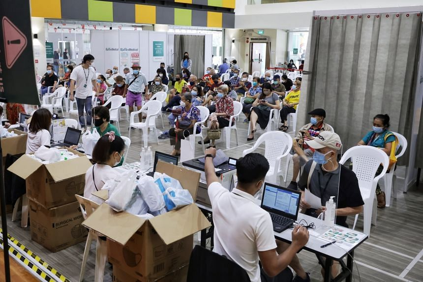 By noon, more than 100 seniors had taken their third shot at Teck Ghee Community Club on Sept 15, 2021.