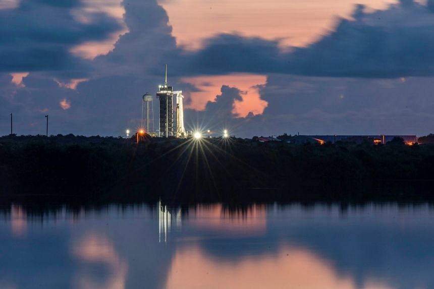 The SpaceX Falcon 9 with the Crew Dragon capsule before launch at Kennedy Space Centre in Cape Canaveral, Florida, on Sept 15, 2021.