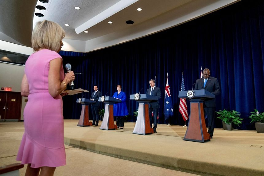 A reporter asks a question during a news conference with (from left) Australian Defence Minister Peter Dutton, Australian Foreign Minister Marise Payne, US Secretary of State Antony Blinken and US.Defence Secretary Lloyd Austin in Washington.