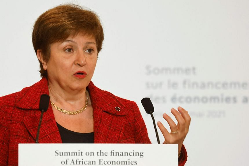 Ms Kristalina Georgieva speaks during a joint press conference at the end of the Summit on the Financing of African Economies in Paris on May 18, 2021.
