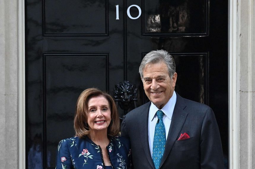 US Speaker of the House Nancy Pelosi and her husband Paul pose for the media outside 10 Downing Street in London, on Sept 16, 2021,