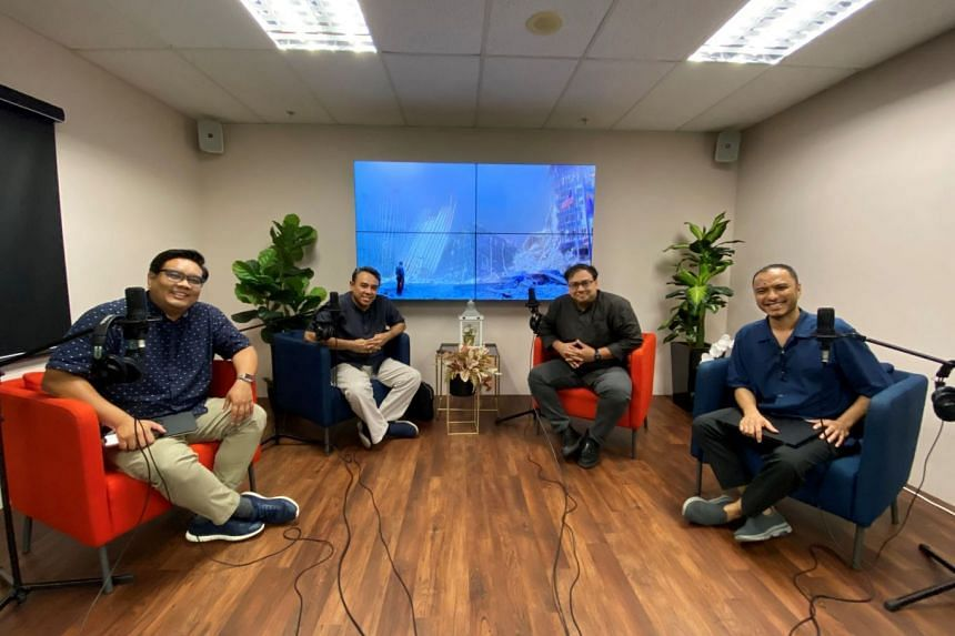 (From right to left) The first joint ST-Berita Harian podcast features ST's podcast editor Ernest Luis, ST's Singapore desk editor Zakir Hussain, vice-chairman and counsellor of the Religious Rehabilitation Group (RRG) Dr Mohamed Ali, and BH's
