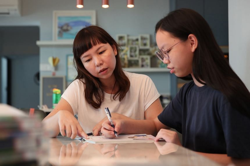 """Ms June Yong envisions herself putting on the """"coaching hat"""" to reassure her daughter, Vera, in the final week before the PSLE."""