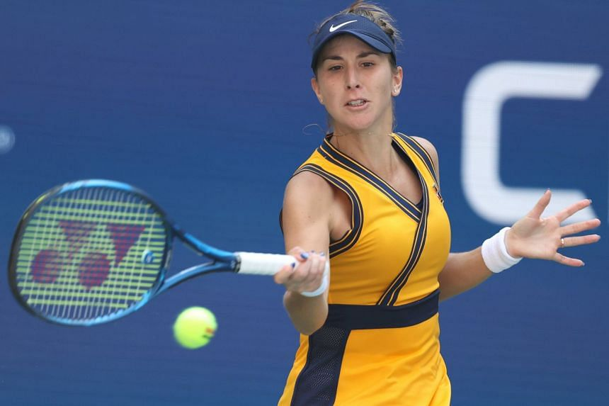 Belinda Bencic (above, at the US Open) suffered a 6-1, 6-4 defeat to Russia's Liudmila Samsonova.
