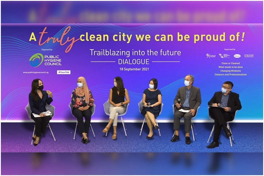 Moderator Diana Ser with panellists from the cleaning industry and environmental groups at a discussion organised by the Public Hygiene Council on Sept 18, 2021.