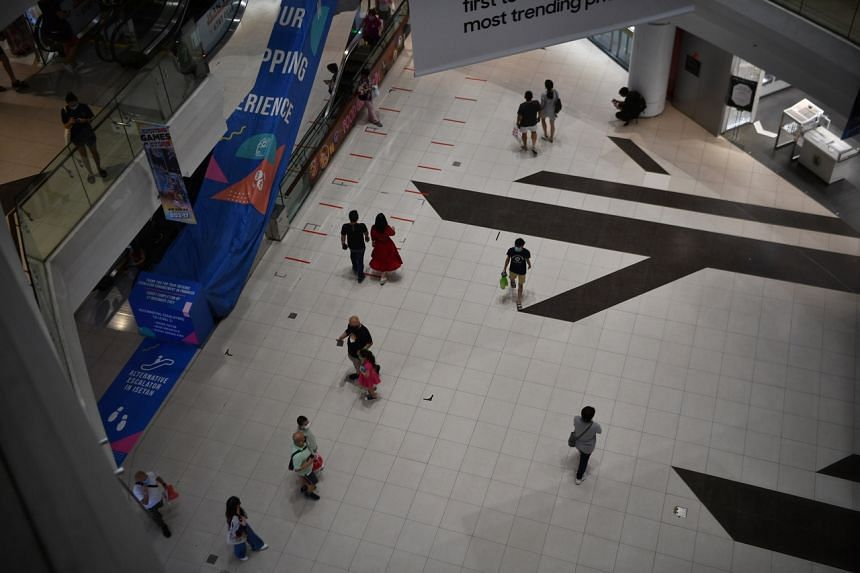 People at Tampines Mall on Sept 16, 2021.