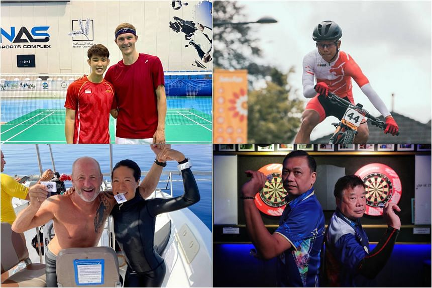 (Clockwise from left) Shuttler Loh Kean Yew (left) with Olympic champion Viktor Axelsen; national mountain biker Riyadh Hakim; Harith Lim (left) and Paul Lim; and freediver Lim Anqi (right) with British freediver David Tranfield.