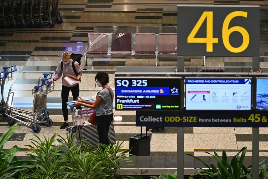 A photo taken on Sept 8 showing travellers from Germany under the Vaccinated Travel Lane scheme arriving at Changi Airport.