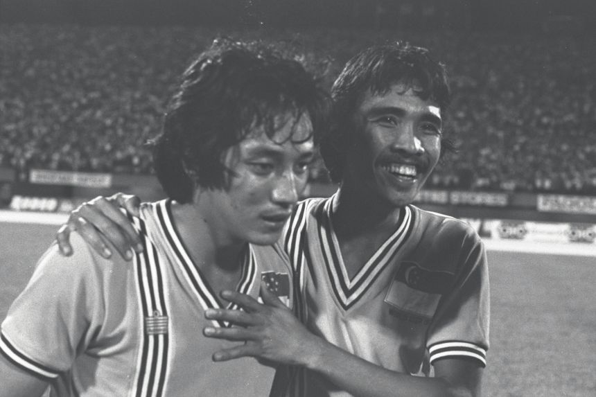 Mohamed Noh Hussein (left) and Nasir Jalil at the pre-World Cup Tournament at the National Stadium where Singapore beat Malaysia 1-0, on March 6, 1977.