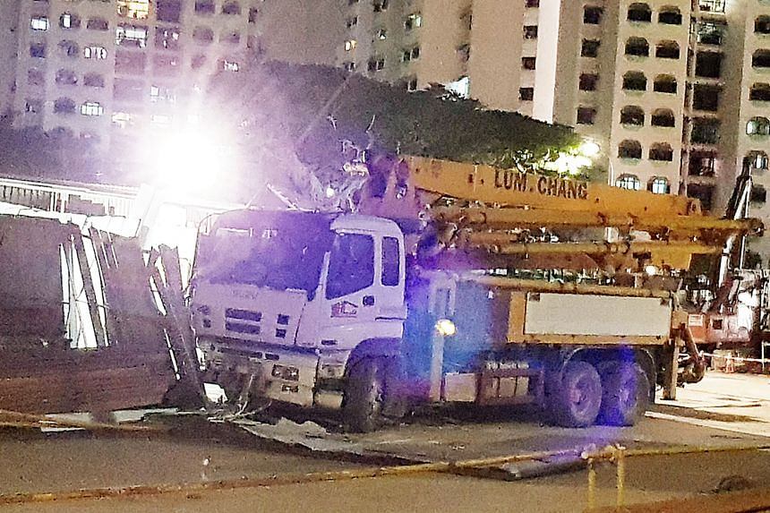 The victim was struck when a concrete pump truck crashed into the gate.