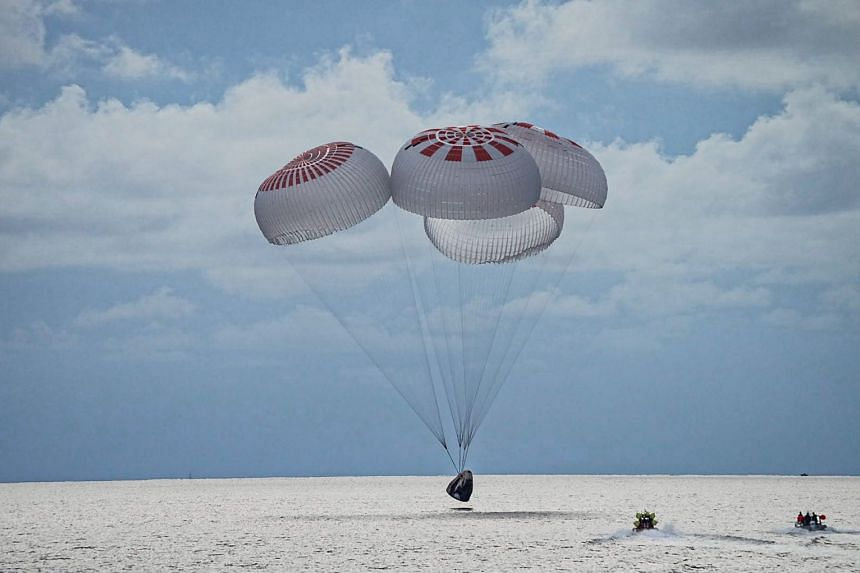 The Inspiration4 crew splashes down in SpaceX's Crew Dragon capsule off the coast of Florida, on Sept 18, 2021.